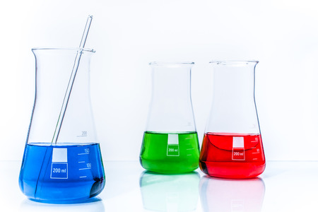 resistant: Set of three conical temperature resistant flasks with color liquid