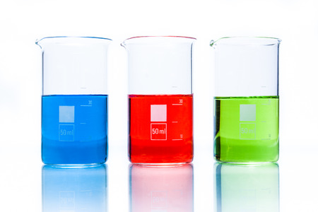 Set of temperature resistant cylindrical beakers with color liquid photo