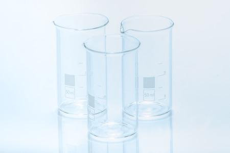 resistant: Set of three empty temperature resistant cylindrical beakers for measurements Stock Photo