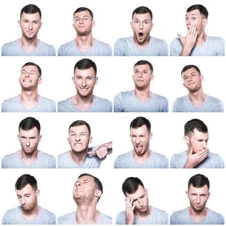 cara triste: Collage de las expresiones negativas y positivas de cara