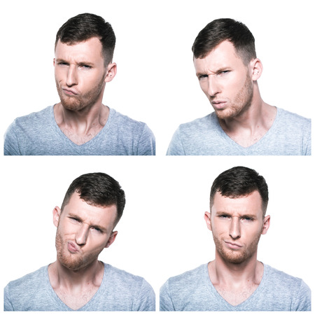 Collage of doubtful,querstionable, incredulous face expressions photo