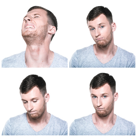dissappointed: Collage of sad, offended, unhappy, disappointed face expressions Stock Photo
