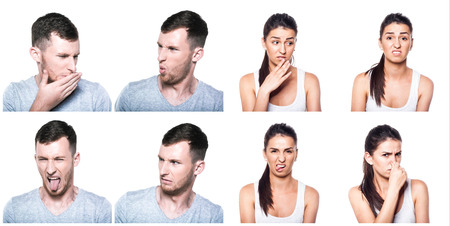 Disgusted boy and girl composite photo