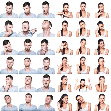 Composite of positive and negative emotions and gestures with boy and girl Stock Photo