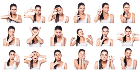 emotions faces: Composite of positive and negative emotions and gestures with girl