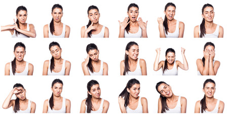 emotions faces: Composite of positive and negative emotions with girl Stock Photo