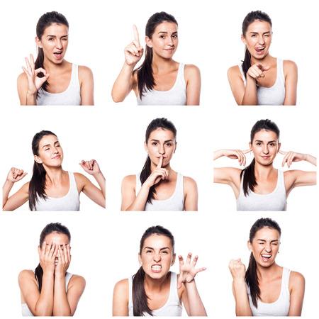 composite: Compuesto de las emociones positivas y gestos con la muchacha