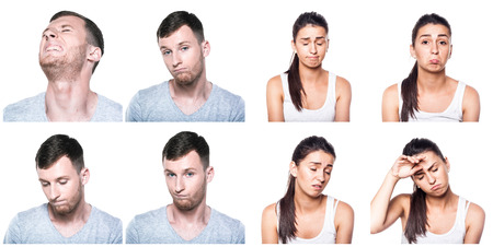 offended: Sad, offended, unhappy, disappointed boy and girl composite