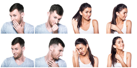 Shy, modest, blushful boy and girl composite photo