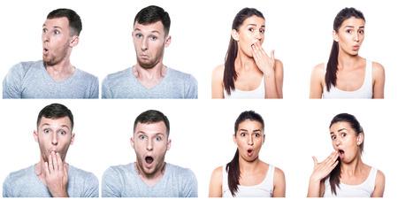 wondering: Surprised, amazed, wondering boy and girl composite