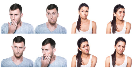 Unconfident, unsure, worried boy and girl composite photo