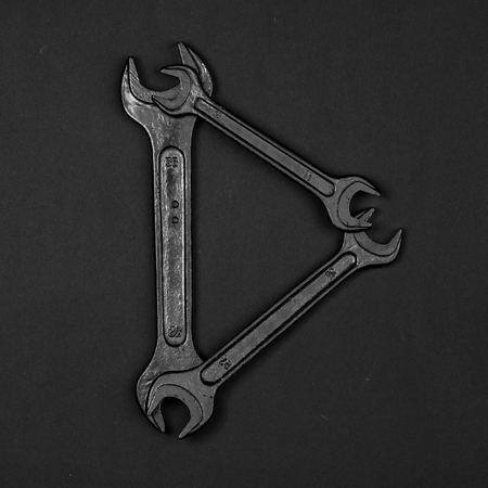 Letter D. Alphabet made of repair tools. Creative black and white font
