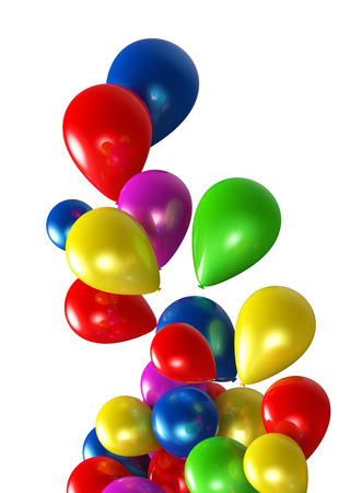 Multi colored balloons on strings  3d images