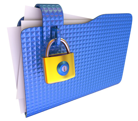 lockbox: The blue folder with golden hinged lock  3d images