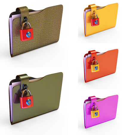 insurmountable: Set of colored folders for papers with a lock