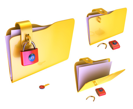 lockbox: Set of colored folders for papers with a lock