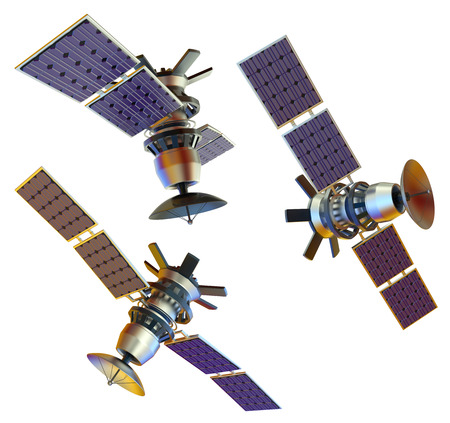 3D models of an artificial satellite (from different angles) photo