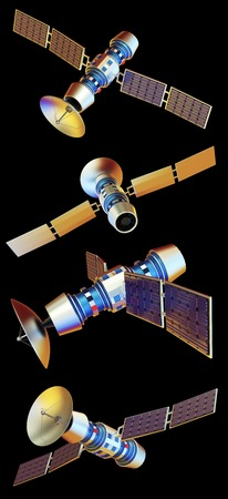 3D models of an artificial satellite (from different angles)