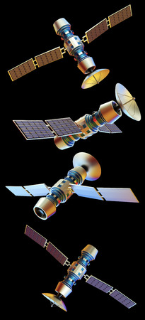 artificial satellite: 3D models of an artificial satellite (from different angles)