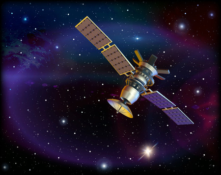 artificial satellite: 3D model of an artificial satellite in space
