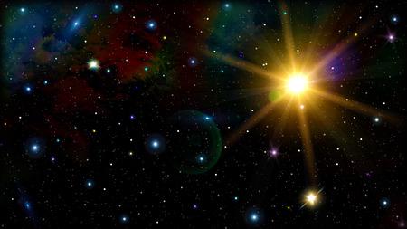 Colorful starry sky with nebula 3d image photo
