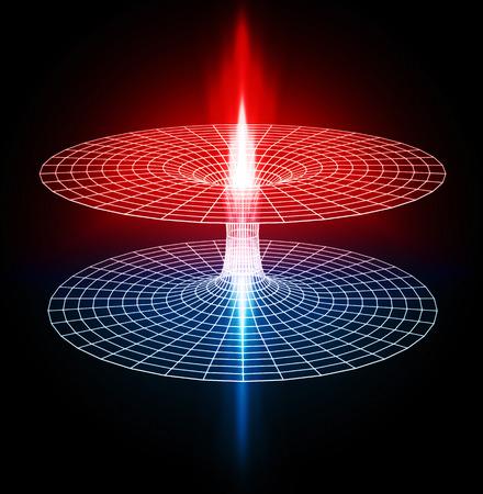 3d beeld van een wormhole, zwart gat Stockfoto