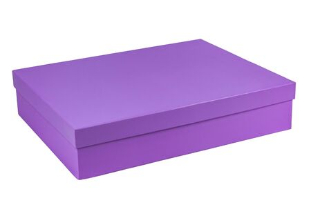Lilac rectangular gift box isolated on white background Standard-Bild - 131485832