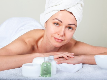 inner peace: Closeup portrait of attractive gentle female enjoying day spa in luxury beauty salon alternative medicine harmony and inner peace concept Stock Photo