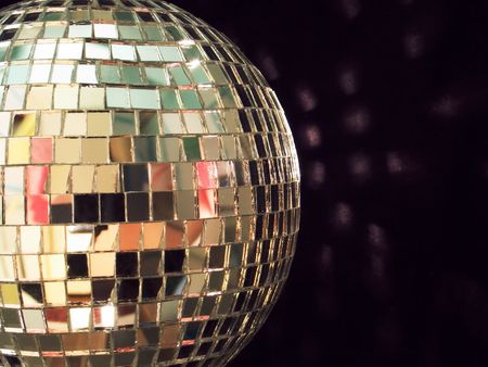 shiny disco ball on black background, detailed Stock Photo - 406450