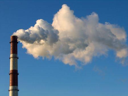 smoke stack: smoke stack on a blue sky background