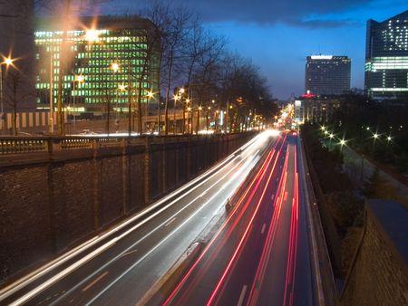 brussels: night street view, brussels, belgium