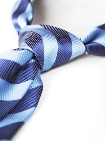 strip shirt: blue tie knot isolated, with clipping path Stock Photo