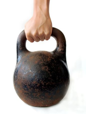 mans palm lifting old russian weight Stock Photo