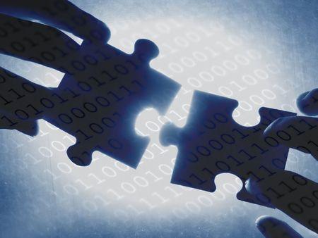 handen proberen te passen twee puzzelstukjes samen, op een binaire code achtergrond Stockfoto