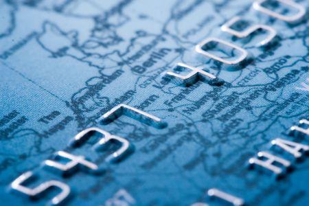 dof: credit card detailed, shallow DOF, focus on digit 4 Stock Photo