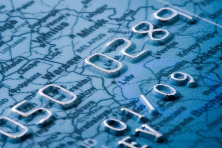 bankcard: credit card detailed,  with map of europe as a backgorund