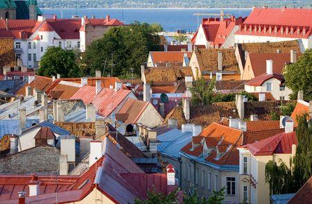 estonia: old tiled roofs in tallinn, estonia