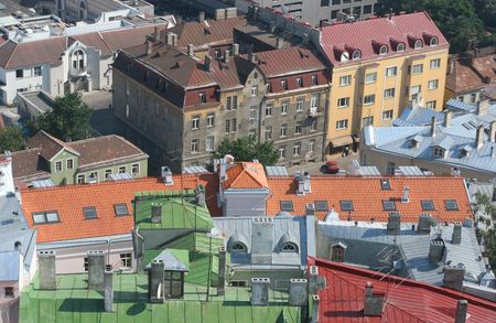 birdseye view: birds-eye view of colorful roofs of tallinn, estonia Stock Photo
