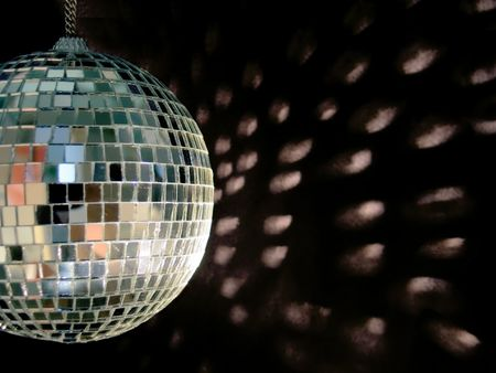 miror: shiny disco ball on back backgound