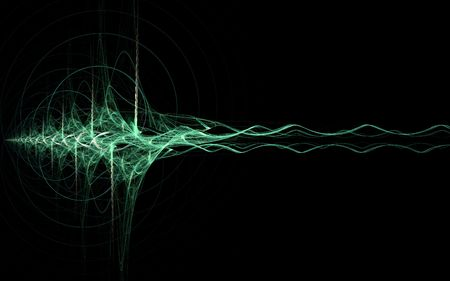 vibe: abstract green energy wave on black background