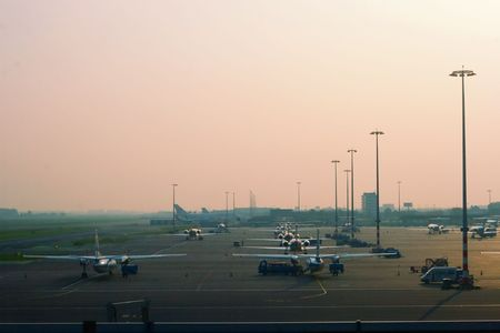 schiphol: parked aircrafts at Amsterdam Airport Schiphol, Holland