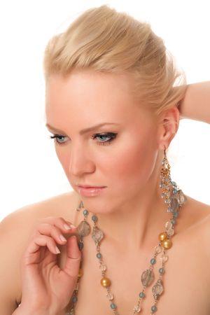 portrait of attractive caucasian woman over white background Stock Photo - 947908