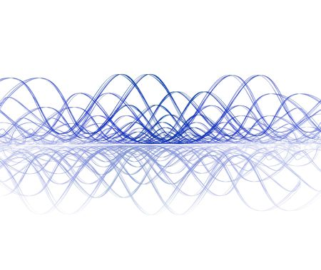 vibration: cool sound wave with reflection - huuuge render Stock Photo