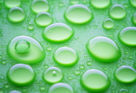 hydrophobic: waterdorps on green hydrophobic surface, close-up shot Stock Photo