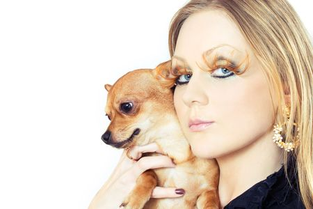 portrait of young attractive woman with her pet Stock Photo - 2292385