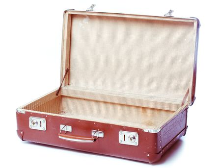 opened: vintage brown suitcase - isolated over white background