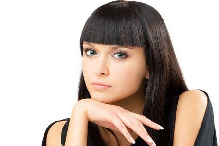 portret van de jonge charmante brunette, over wit Stockfoto