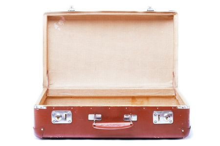 opened bag: vintage brown suitcase - isolated over white background