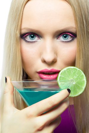 close up portrait of gorgeous blonde  with cocktail Stock Photo - 2957151