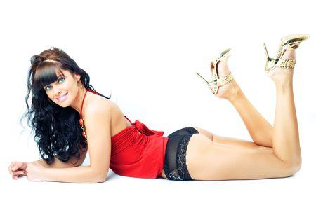 culo donna: splendida bruna che presentano, oltre studio shot sfondo bianco